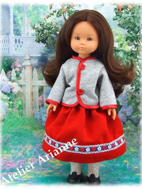 Tenue Brigitte pour poupées : Corolle, Paola Reina, Minouche, Mini Maru, LD