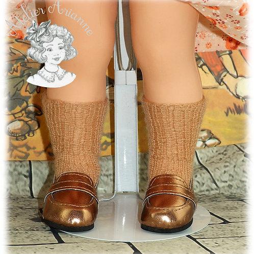 Chaussettes caramel tricotées hautes pour : Françoise, Finouche, Francette