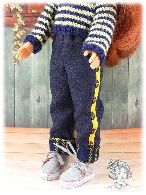 Pantalon avec bande et revers colorés pour poupées Corolle et Paola Reina