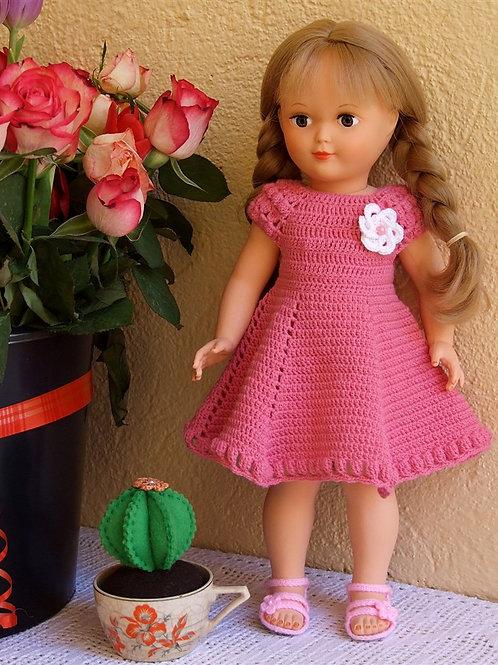 Tenue ''Margaret''  crochet rose pour poupée Françoise Modes et Travaux