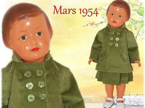 Tenue poupée Modes et Travaux pour Françoise Mars 1954