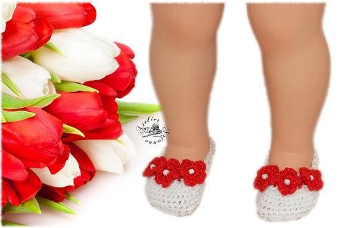 Réservé Chaussures poupée Modes et Travaux Françoise Blanches fleurs rouges