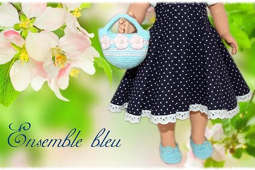 Chaussures et sac poupée Modes et Travaux Françoise Ensemble Turquoise