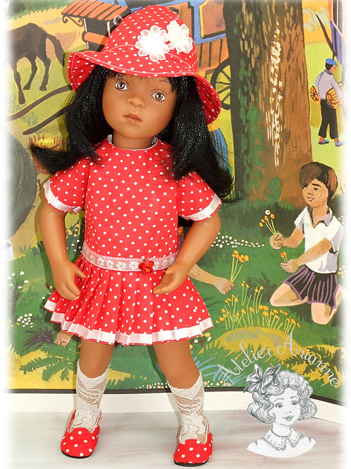 Nanette robe et chapeau -Tenue pour poupée Minouche de Petitcollin