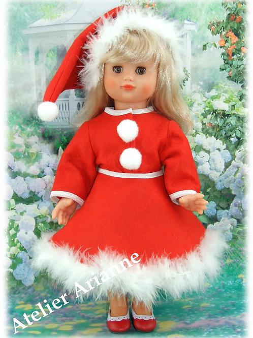 """Tenue pour poupée Emilie Modes et Travaux novembre 1989 """" Mère Noël """""""