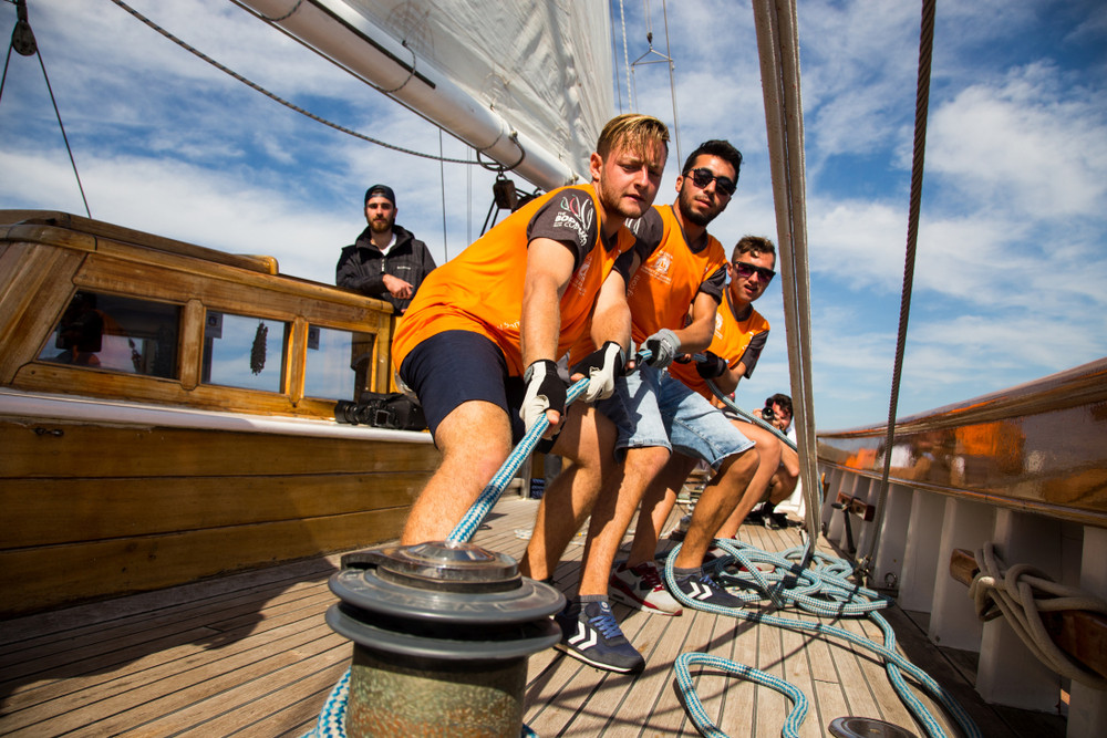 Sailing Crew Hauling on a LIne