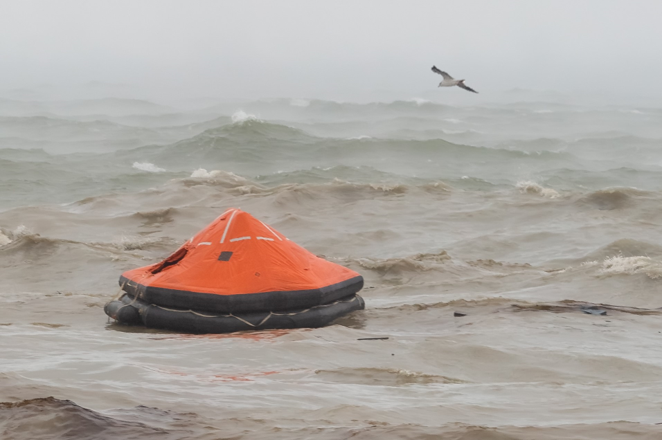 Picture of a life raft in a storm