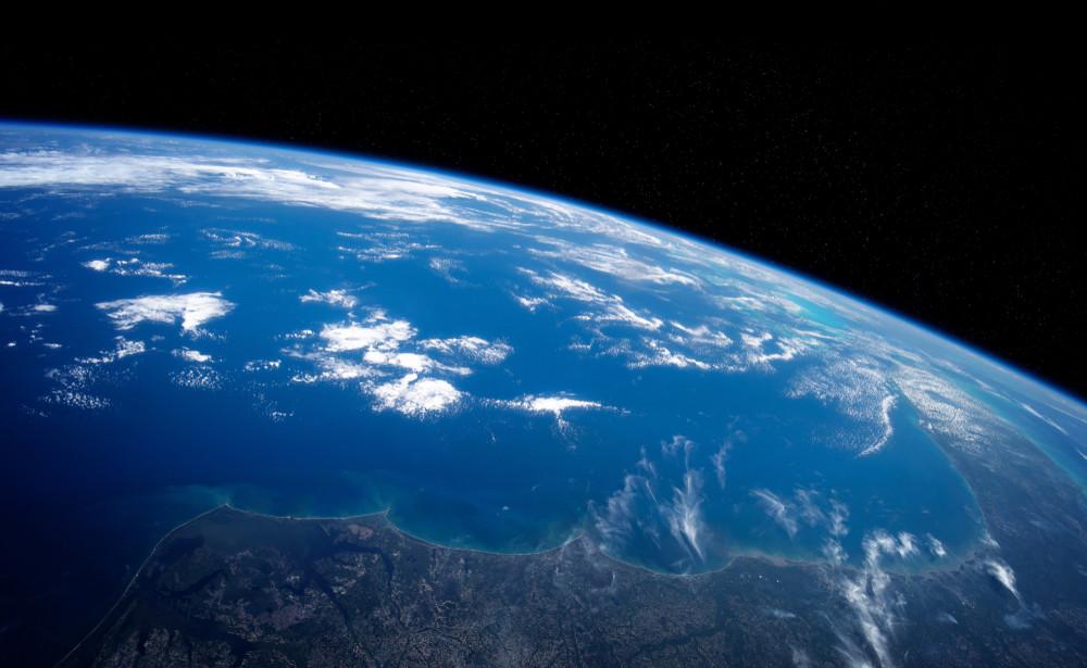 Earth viewed from space, showing vast ocean