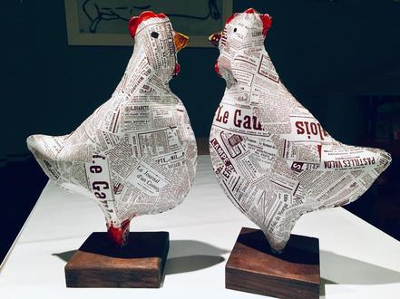 2 poules Papier Maché