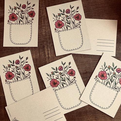 "Postkarte ""flower pocket"" Kraftpapier"