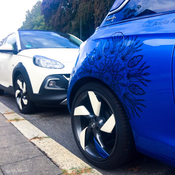 Mandala Sticker Opel Adam blau weiß