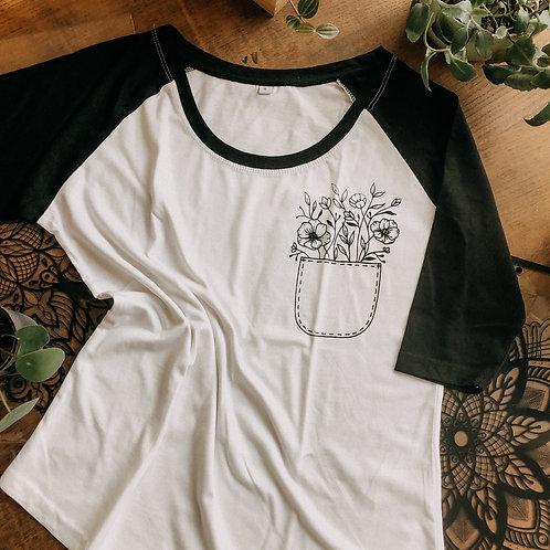 Shirt Flower Pocket Raglan