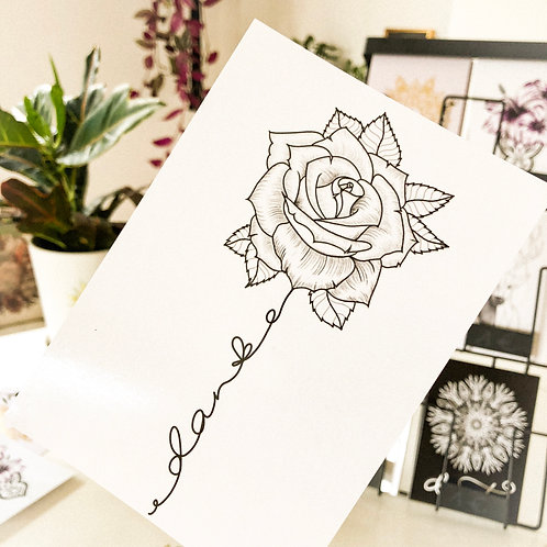 "Postkarte Rose + Lettering ""Danke"" schwarz/weiß"