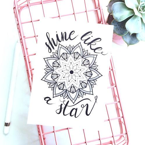 "Postkarte Mandala + Lettering ""Shine like a star"""