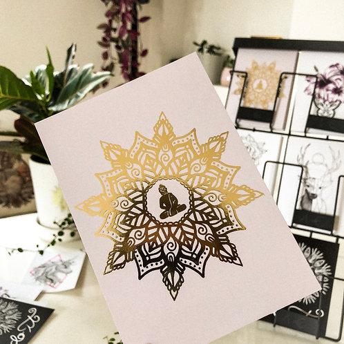 Postkarte Golden Buddha mit Mandala