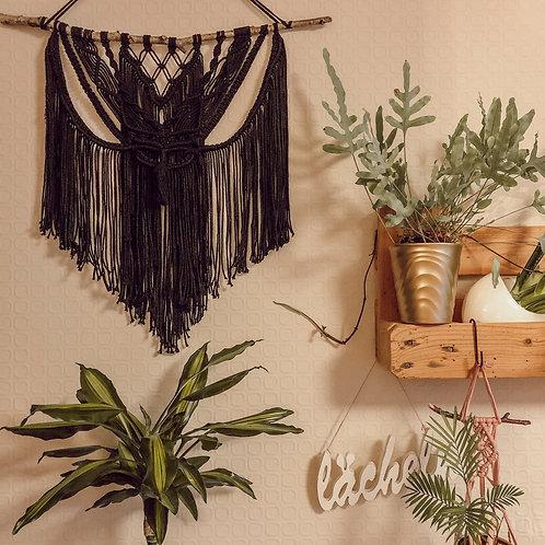 Makramee Wandbehang groß schwarz