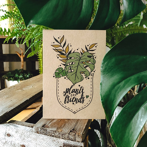 "Postkarte ""plants are friends"" Kraftpapier"