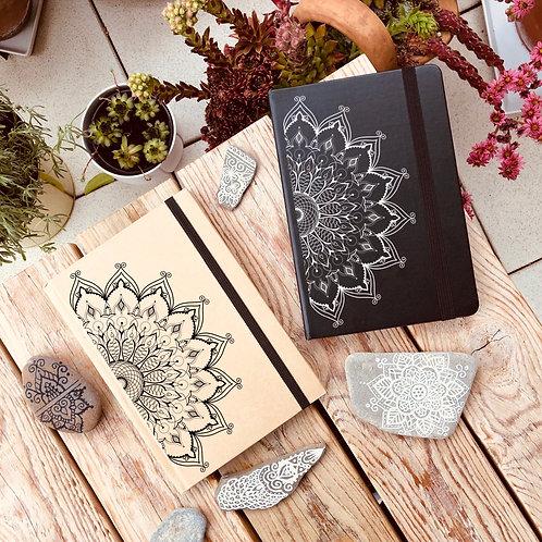 Notizbuch A5 Mandala Natur oder schwarz liniert
