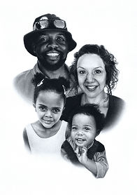 pastel family portrait with children