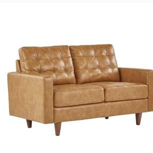 Caramel Leather Gel Love Seat