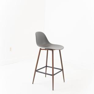 Grey Bar Height Chair with Modern Wooden Legs