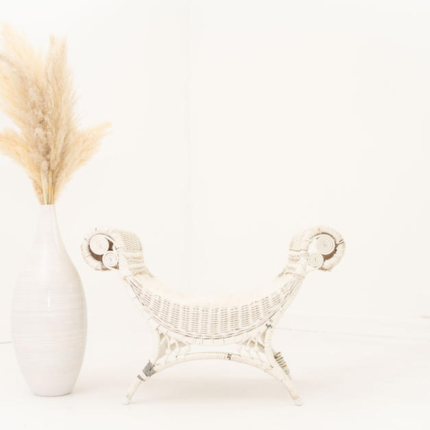 White Wicker Seating and Pampas Stems