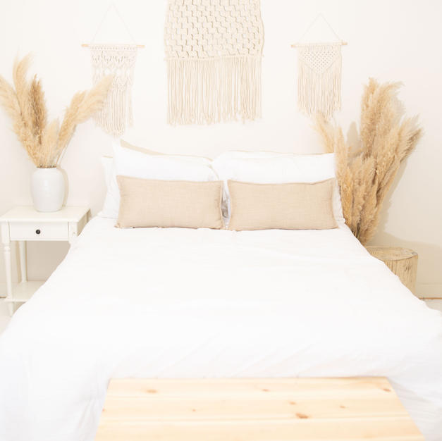 Queen Sized Bed, Nightstand and Decorative Woodens Stand