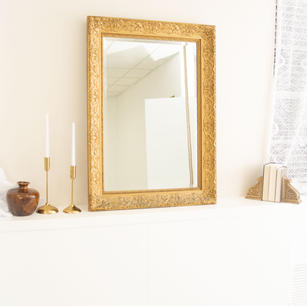 Antique Golden Mirror, Candle Sticks, and Decorative Vase