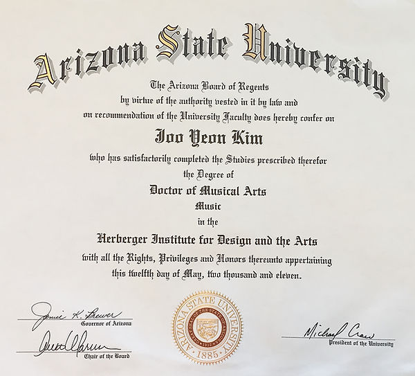 Tarina Kim received Doctor of Musical Arts for Piano Performance and Pedagogy from Arizona State University.