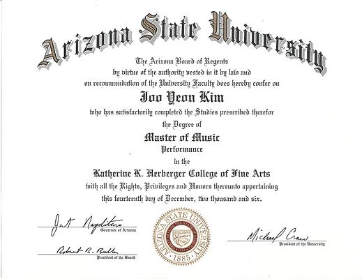 Tarina Kim received Master of Music from Arizona State University