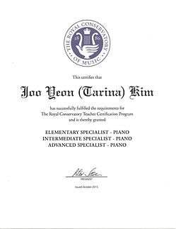 Tarina Kim is RCM Certified Piano Instructor