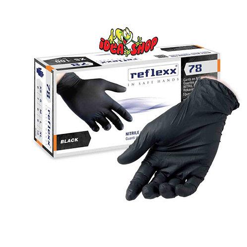Guanti monouso in nitrile nero senza polvere reflexx conf. 100 pz.