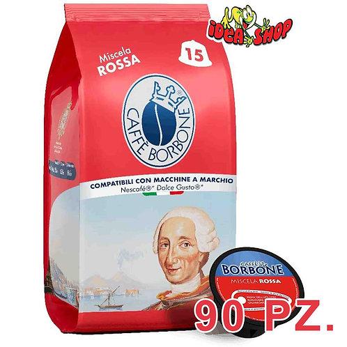 Capsule caffè Borbone compatibili Nescafè dolce gusto miscela rossa 90 pz.