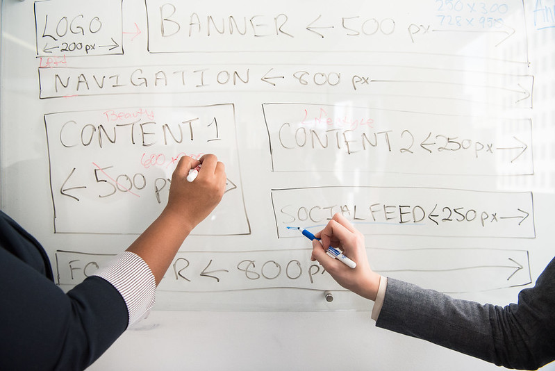 Designers whiteboarding a website layout