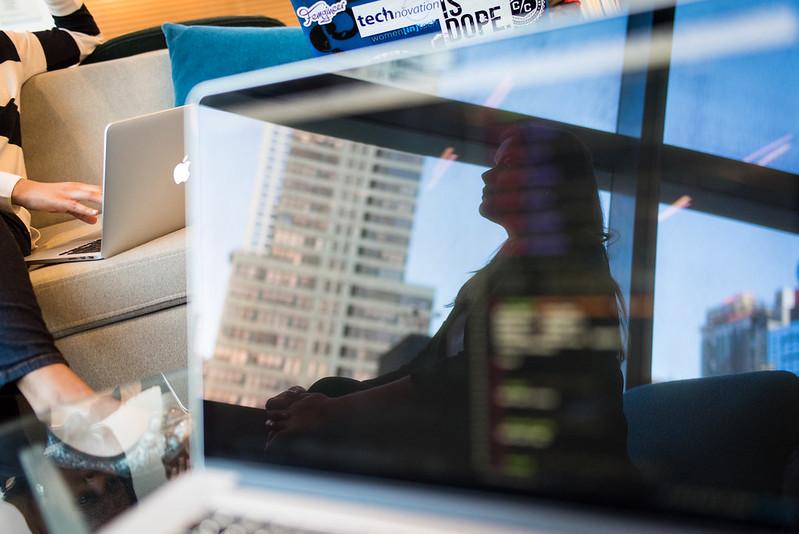 Reflection on a laptop