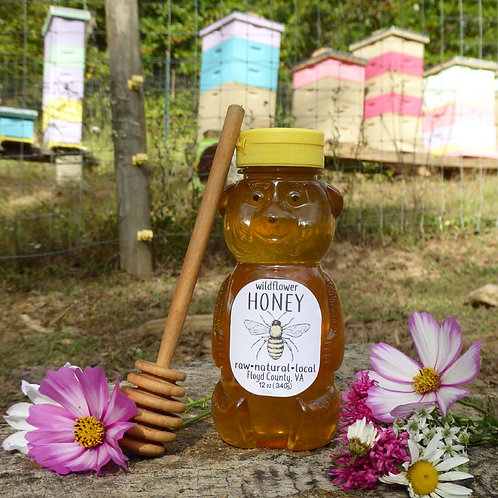Pure Raw Wildflower Honey- 12oz squeeze bottle