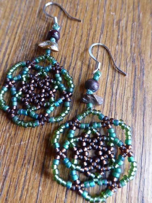 Green and Brown Mandala Earrings