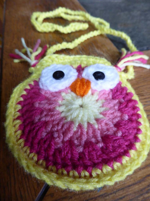 Pink and Yellow Small Owl Bag