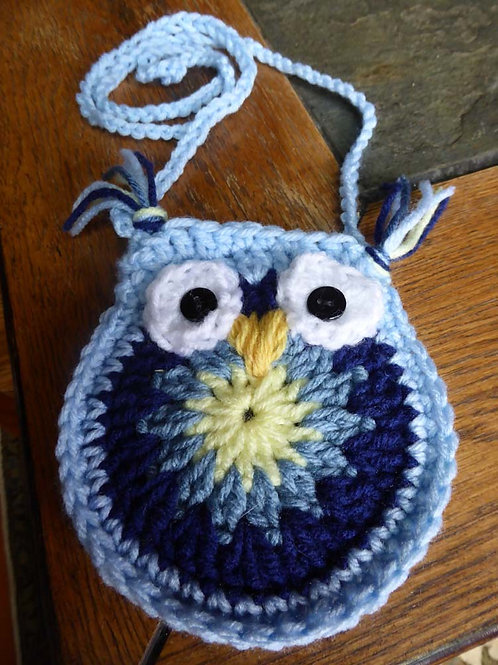 Blue & Yellow Crocheted Small Owl Bag