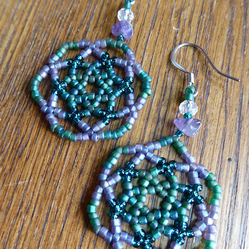 Blue Green and Lavender Mandala Earrings