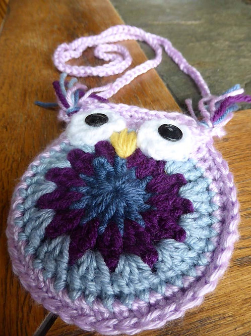 Blue and Purple Small Owl Bag