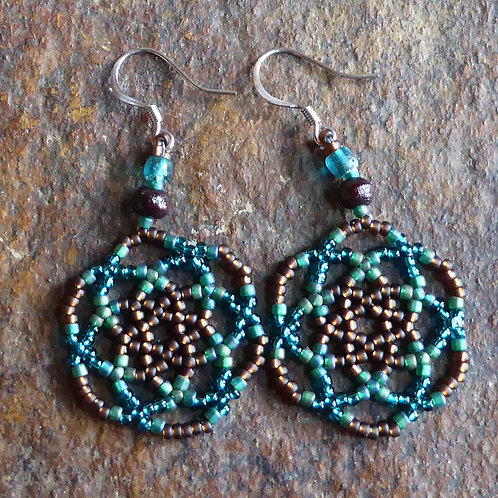 Teal Blue and Brown Mandala Earrings
