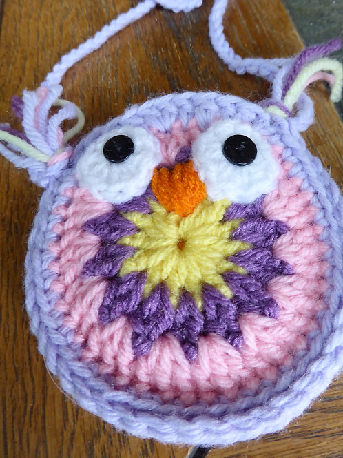 Pink and Purple Small Owl Bag
