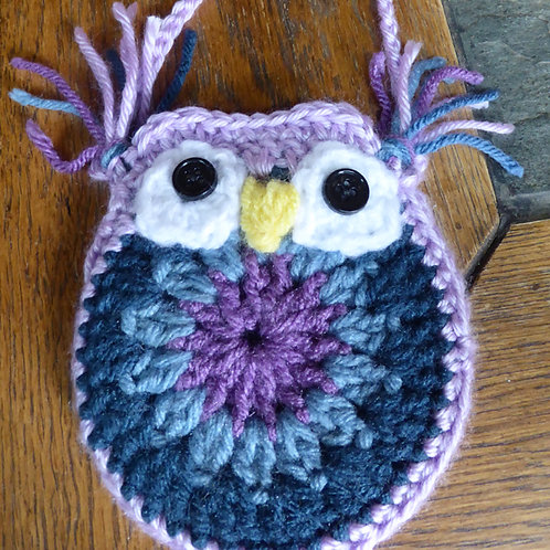 Purple and Blue Small Owl Bag