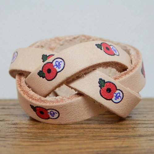 Poppy and Scouting Fleur De LisLeather Scout Woggle