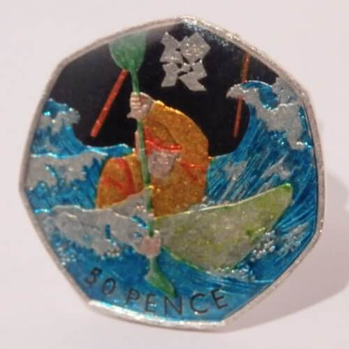 Enamelled Olympic Canoeing Coin Woggle