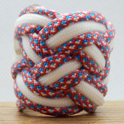Patriotic Diamonds and White Large Paracord Scout Woggle