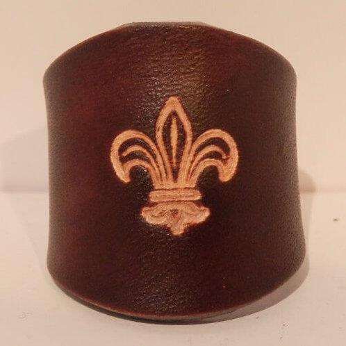 Traditional Brown Leather Scout Woggle - Fleur de Lis Motif