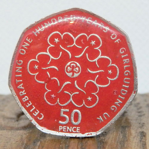 Enamelled Centenary of Guiding Woggle - Red