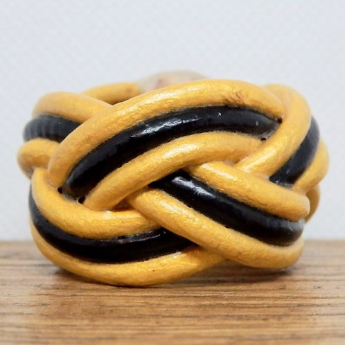Gold and Black Small Leather Woggle